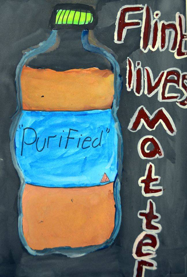 Drawing created by 8th grader, Ayani J., at Linden Charter School in Flint, Michigan in response to the Flint water crisis.